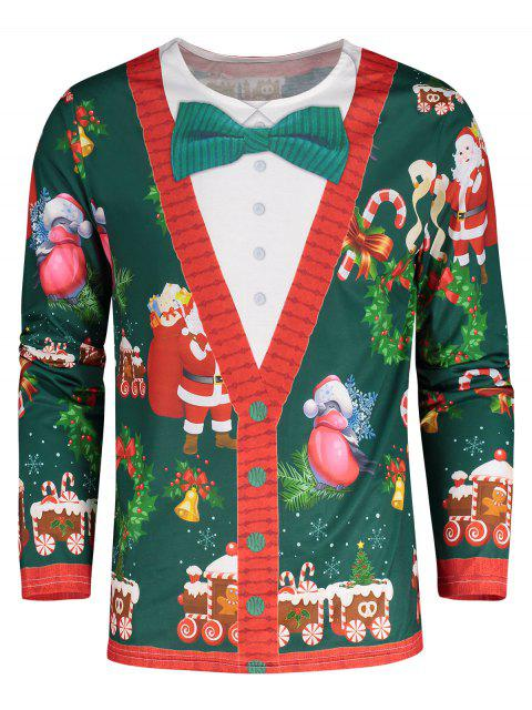 Santa Claus 3D Print Christmas Tee - 綠色 XL Mobile