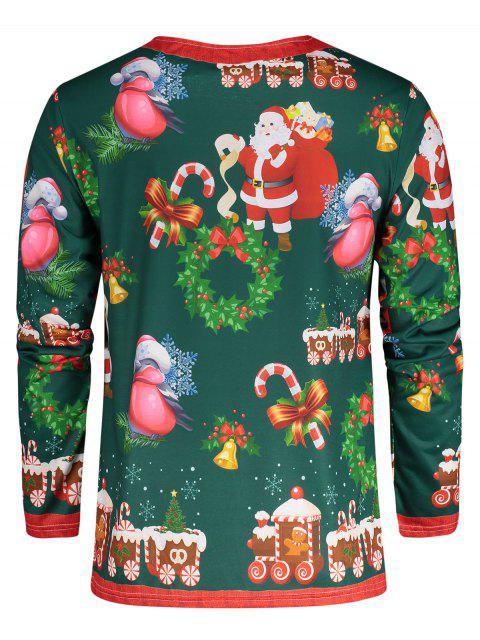 Weihnachtsmann 3D Druck Weihnachten T-Shirt - Grün M Mobile