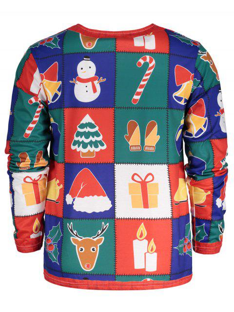 Christmas Tree Santa Print Long Sleeve T-shirt - Colormix XL Mobile