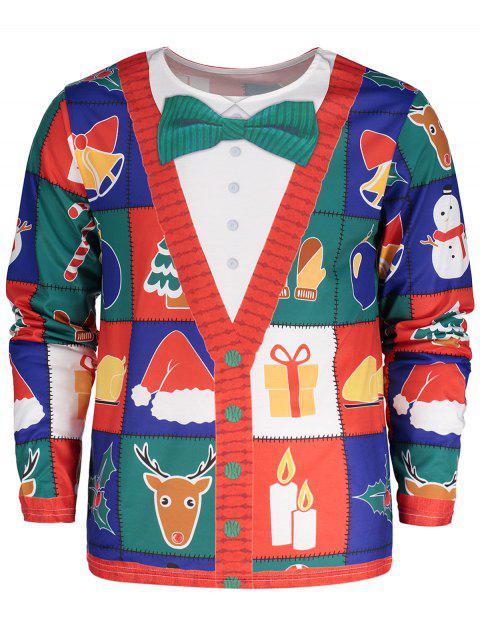 Christmas Tree Santa Print Long Sleeve T-shirt - Colormix M Mobile