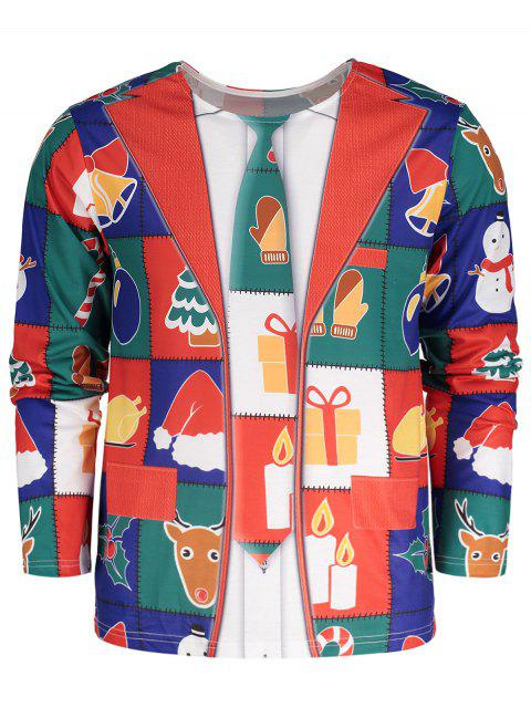 Crew Neck Long Sleeve Christmas T-shirt - Colormix 2XL Mobile