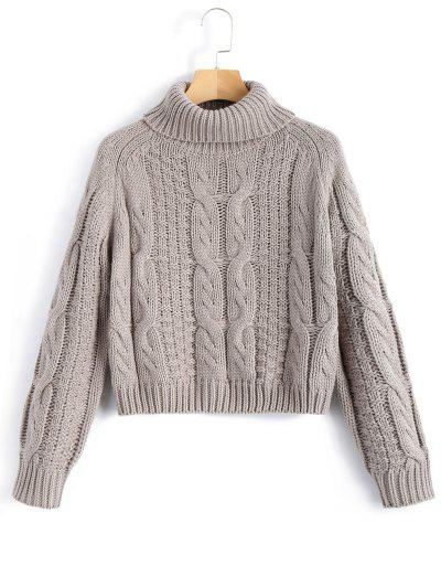 Turtleneck Cropped Cable Knit Sweater - Gray S