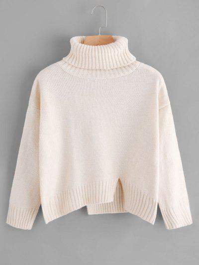 Slit Oversized Turtleneck Sweater - Off-white