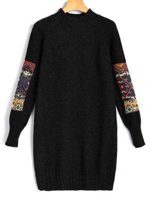 Mini Robe Pull Jacquard à Manches Longues