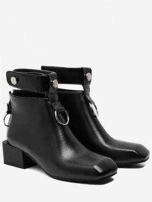 Rivets Square Toe Ankle Strap Boots