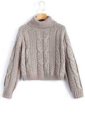 zaful Turtleneck Cropped Cable Knit Sweater