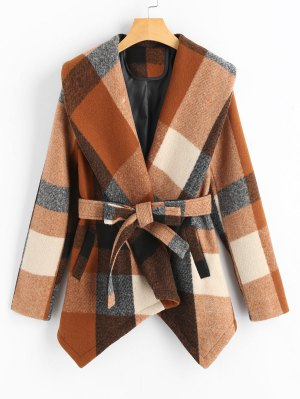 Belted Wool Blend Plaid Coat