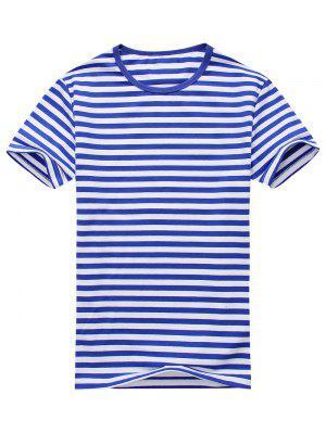 Camiseta de manga corta a rayas con mezcla de algodón