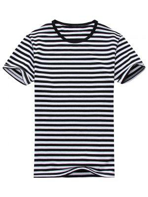 Cotton Blend Striped Short Sleeve Tee