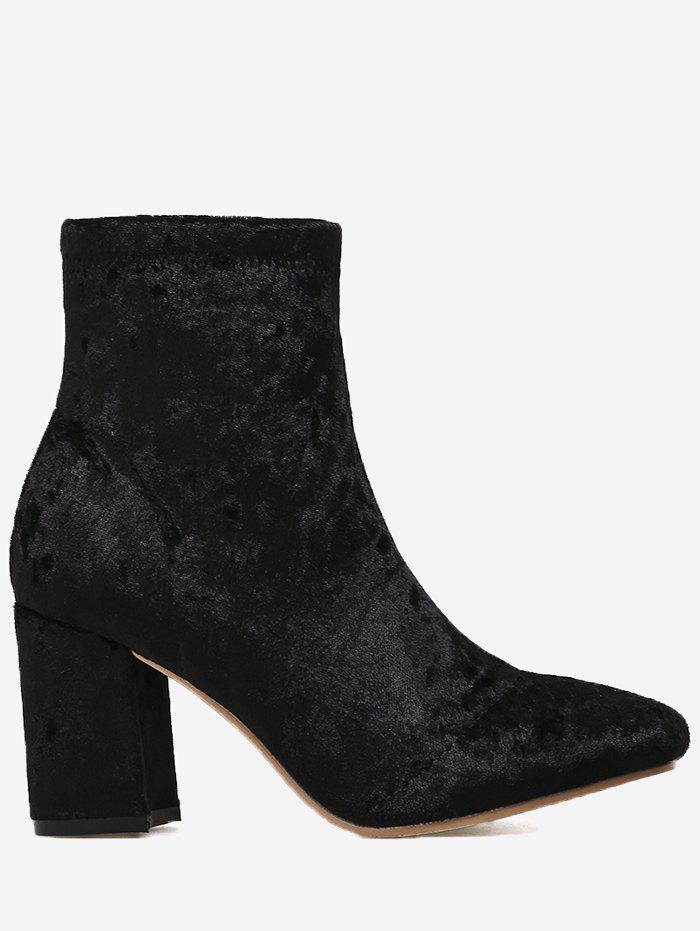 Almond Toe Chunky Heel Velvet Boots 233889704