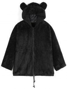 معطف بغطاء الرأس فرو اصطناعي - أسود L