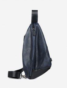 بو الجلود هندسية حقيبة الصدر - أزرق