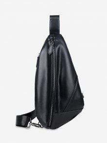 حقيبة صدر على شكل هندسي من الجلد المصنع - أسود