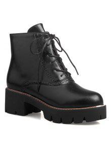 أحذية عالية الكعب الجانب البريدي قصيرة - أسود 37