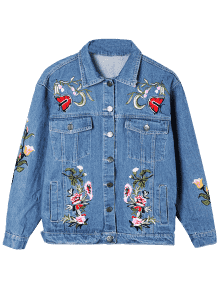 54a6cc6886a 62% OFF  2019 Embroidery Plus Size Denim Jacket In DENIM BLUE