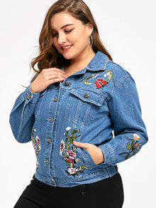 1f2316f8be8 Embroidery Plus Size Denim Jacket  Embroidery Plus Size Denim Jacket ...