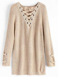 Buy Lace Pullover Sweater - LIGHT KHAKI ONE SIZE