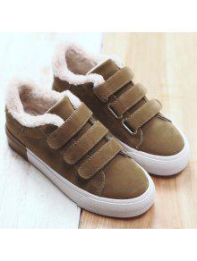 الفراء كعب منخفض اللون كتلة عارضة الأحذية - ترابي 38