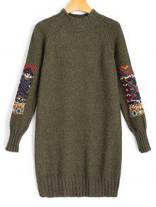 فستان مصغر سويت بقماش الجاكر طويلة الأكمام - الجيش الأخضر
