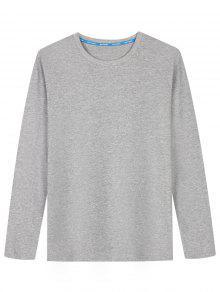 T-shirt En Coton Mélangé à Manches Longues - Gris L