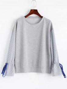 Sweatshirt Mit Bell Ärmel Und Streifen  - Grau M