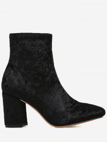 حذاء مخملي بمقدمة لوزية وكعب عريض - أسود 38