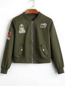 Chaqueta De Bombardero Con Cremallera Y Parche De La Insignia - Verde Del Ejército M