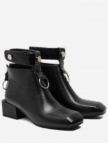 حذاء الكاحل مزين بقطع معدنية ذو شكل مربع عند الأصابع - أسود 36