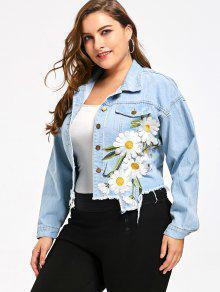 ... Plus Size Floral Applique Denim Short Jacket ...