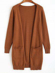 Knit Open Front Cradigan With Pockets LIGHT BROWN: Sweaters ONE ...