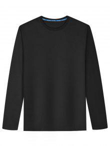 Camiseta De Mezcla De Algodón De Manga Larga - Negro L
