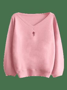 Lantern Sleeve Embroidered V Neck Sweater PINK: Sweaters ONE SIZE ...