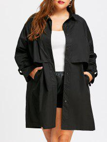 معطف الخندق الحجم الكبير - أسود 5xl
