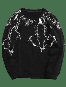 3xl Con Redondo De Abstracto Negro Estampado Sudadera Cuello n6Oqx4qw