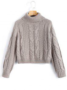 Turtleneck Cropped Cable Knit Sweater GRAY: Sweaters L | ZAFUL
