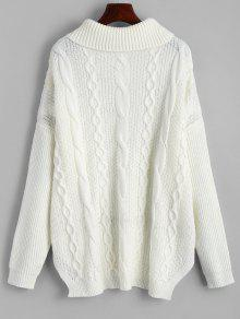 da7637125b9b 38% OFF  2019 Oversized Turtleneck Cable Knit Sweater In WHITE