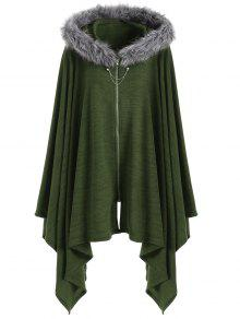 Asymmetric Faux Fur Panel Plus Size Cape Coat