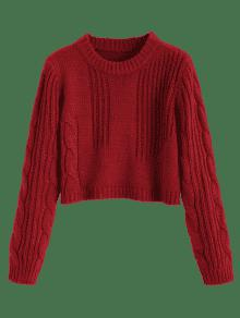 57% OFF  2019 Cable Knit Panel Pullover Cropped Sweater In WINE RED ... a5c5f9ebb