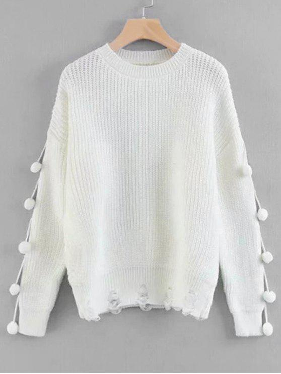 57765707e 34% OFF  2019 Pullover Pompoms Ripped Sweater In WHITE