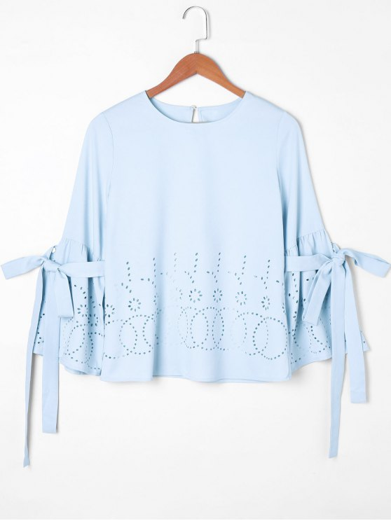 78f8c936b32c9 27% OFF  2019 Hollow Out Bowknot Sleeve Blouse In LIGHT BLUE