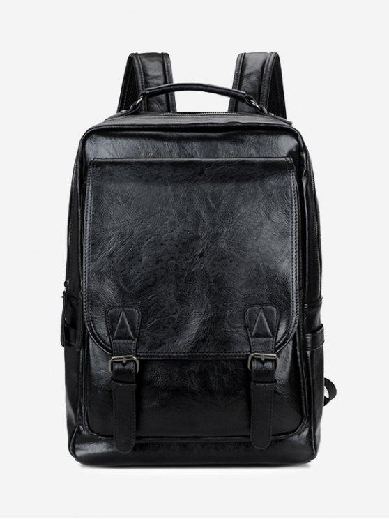 latest Buckle Straps Faux Leather Backpack - BLACK