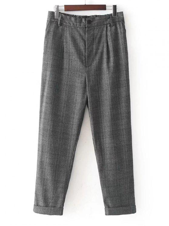 trendy Ninth Checked Tapered Pants - CHECKED S