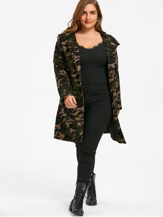 ladies Plus Size Flap Pockets Hooded Camouflage Coat - ACU CAMOUFLAGE XL