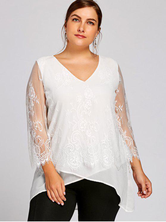 604692a552e 32% OFF  2019 Plus Size Lace Trim V Neck Blouse In WHITE