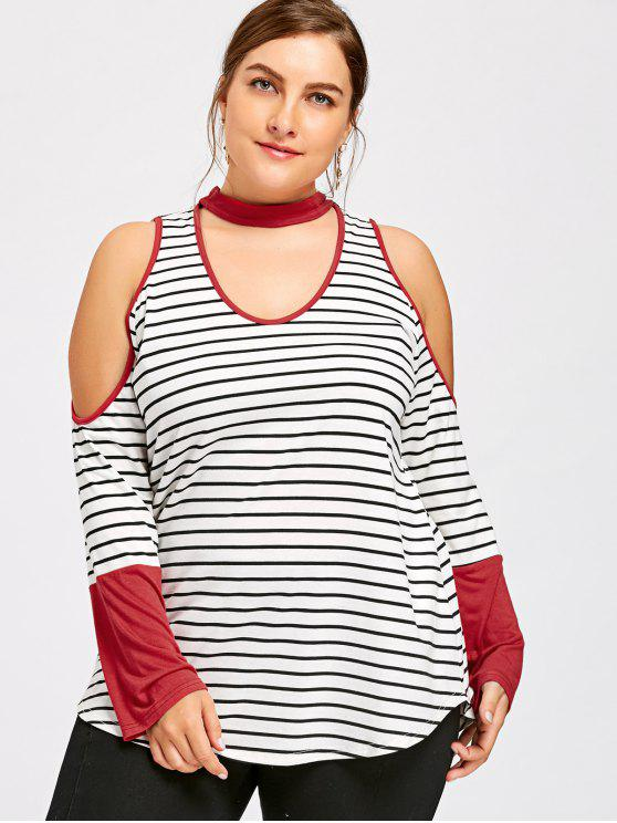 fc7ad45ef336c 31% OFF  2019 Plus Size Cold Shoulder Striped Choker T-shirt In ...