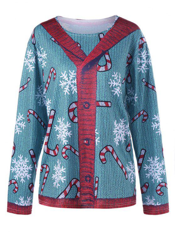 Plus Size Cardigan Illusion Graphic Topo - Azul Verde 4XL