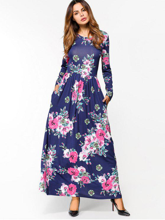 e16f72397 36% OFF] 2019 Floral Print Long Sleeve Maxi Dress In DEEP BLUE | ZAFUL