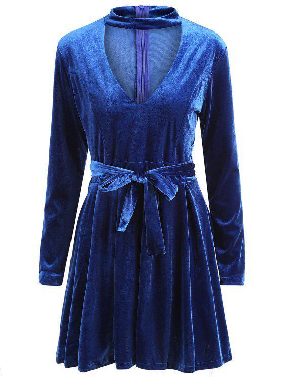 Vestido Rodado Aveludado com Gargantilhado e Manga Longa - Azul Arroxeado M