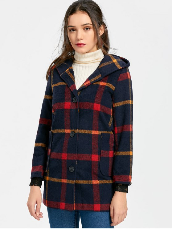 online Button Up Checked Pompom Hooded Coat - CHECKED S