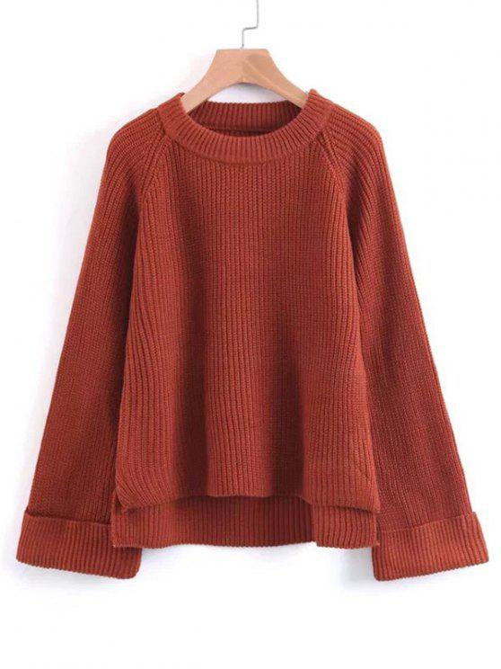 hot Raglan Sleeve High Low Pullover Sweater - RED ONE SIZE